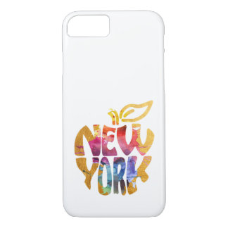 New York Apple, NYC. Watercolor Calligraphy Art. iPhone 8/7 Case