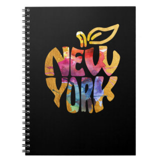 New York Apple, NYC. Watercolor Calligraphy Art. Notebooks