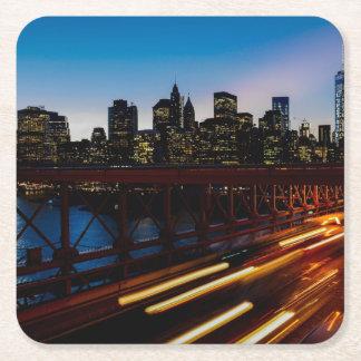 New York at night Square Paper Coaster