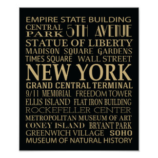 New York Attractions Poster