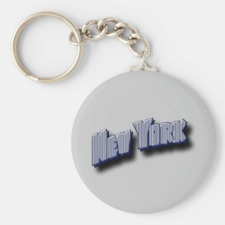 New York Banner Text Basic Round Button Key Ring