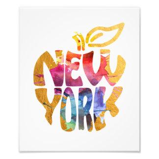New York Big Apple NYC. Watercolor Calligraphy Art Photo Print