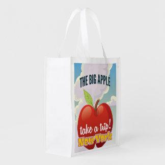 New York Big Apple travel poster Reusable Grocery Bag