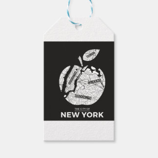 New York big apple with city map Gift Tags