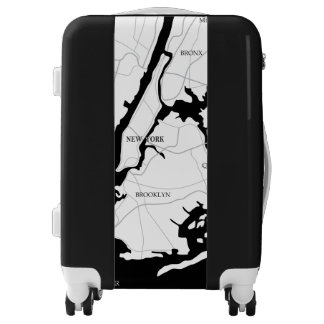 New York, Black and White Map Luggage