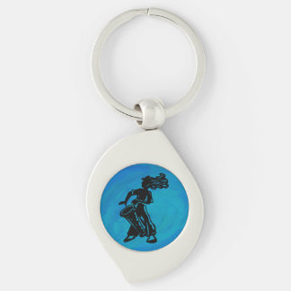 New York Boogie Nights Drum Blue Silver-Colored Swirl Key Ring