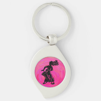 New York Boogie Nights Drum Hot Pink Silver-Colored Swirl Key Ring