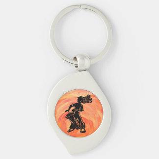 New York Boogie Nights Drum Orange Silver-Colored Swirl Key Ring