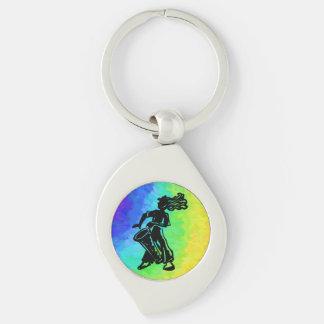 New York Boogie Nights Drum Rainbow Silver-Colored Swirl Key Ring