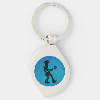 New York Boogie Nights Guitar Blue Silver-Colored Swirl Key Ring