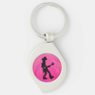 New York Boogie Nights Guitar Hot Pink Silver-Colored Swirl Key Ring