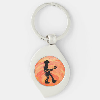 New York Boogie Nights Guitar Orange Silver-Colored Swirl Key Ring