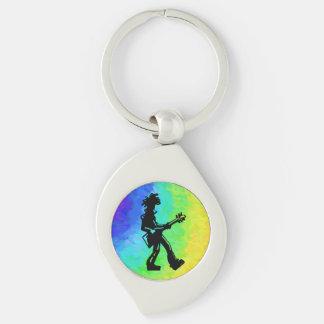 New York Boogie Nights Guitar Rainbow Silver-Colored Swirl Key Ring