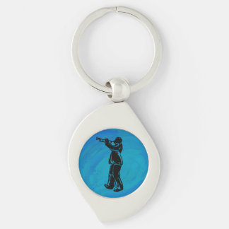 New York Boogie Nights Trumpet Blue Silver-Colored Swirl Key Ring