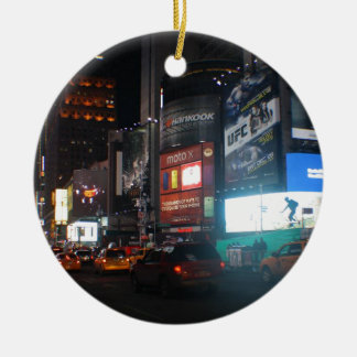 New York Broadway ate night Ceramic Ornament