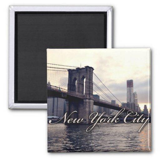 New York Brooklyn Bridge Sunset Magnet