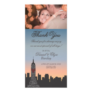 New York Building Wedding Thank You Photo Card