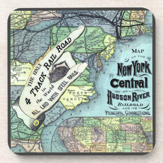 New York Central and Hudson River Map Coaster