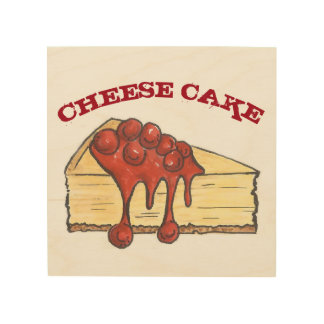 New York Cherry Cheese Cake Cheesecake Food Bakery Wood Print