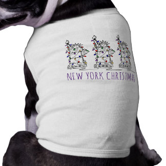 New York Christmas Lights Statue of Liberty Dog T Shirt