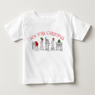 New York Christmas NYC Holiday Landmarks Brooklyn Baby T-Shirt
