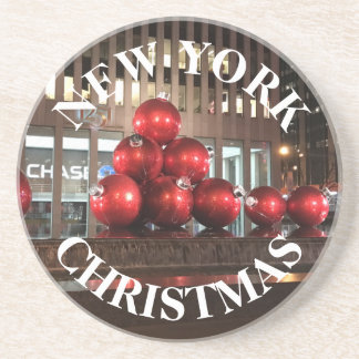 New York Christmas NYC Red Holiday Balls Sixth Ave Coaster