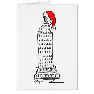 New York Christmas NYC Skyscraper Santa Hat Card