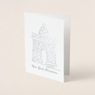 New York Christmas NYC Washington Square Arch Tree Foil Card