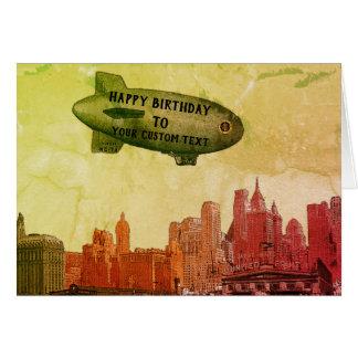 NEW YORK CITY 1930'S SKYLINE BLIMP YOUR BIRTHDAY CARD