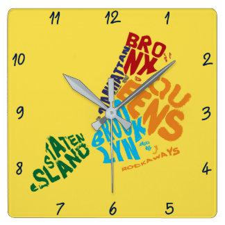 New York City 5 Boroughs Calligram Map Square Wall Clock