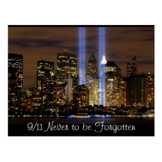 """New York City"" 9/11 Tribute with Lights Postcard"
