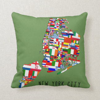 New York City Ancestry Flags Pillow Cushion