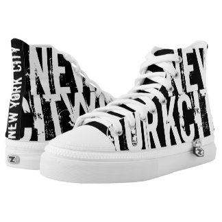 New York City Black Printed Shoes