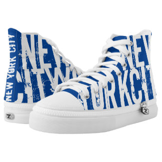 New York City Blue Printed Shoes