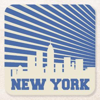 New York City Blue Square Paper Coaster