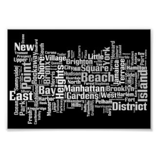 New York City Boroughs Poster