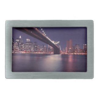 New York City Brooklyn Bridge Night Skyline Belt Buckle