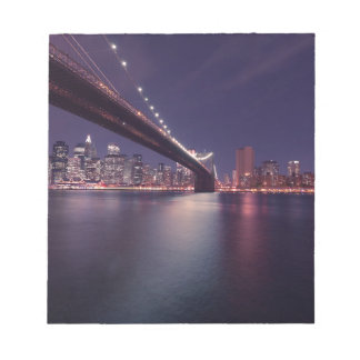 New York City Brooklyn Bridge Night Skyline Notepad