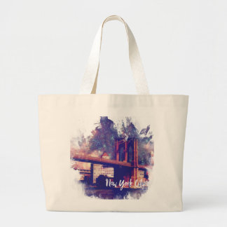 New York City Brooklyn Bridge Painting Large Tote Bag