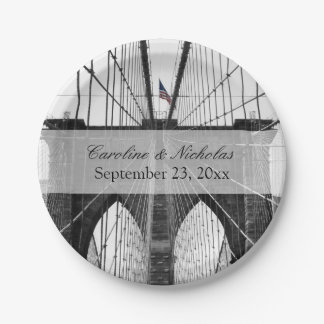 New York City Brooklyn Bridge Wedding 7 Inch Paper Plate