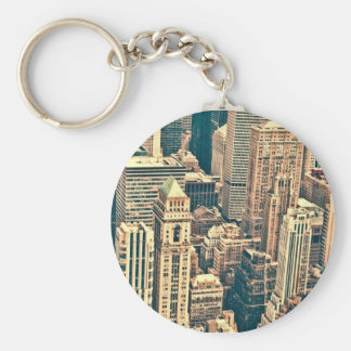New York City Buildings Basic Round Button Key Ring