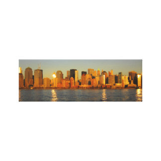 New York City Business District Sunset Landscape Stretched Canvas Prints