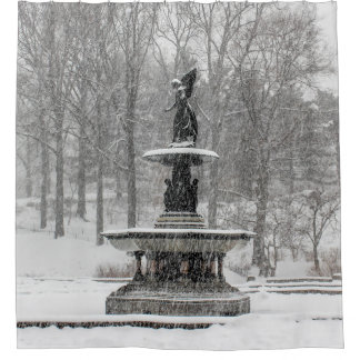 New York City Central Park Bethesda Fountain Shower Curtain