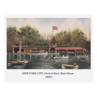 NEW YORK CITY Central Park Boat House old postcard