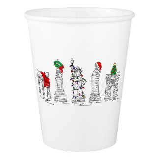 New York City Christmas NYC Holiday Landmarks Paper Cup