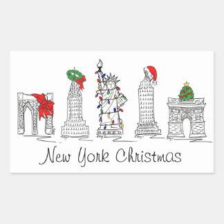 New York City Christmas NYC Landmarks Holiday Xmas Rectangular Sticker