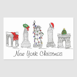 New York City Christmas NYC Landmarks Stickers