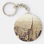 New York City - Chrysler Building Basic Round Button Key Ring