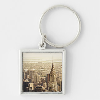 New York City - Chrysler Building Silver-Colored Square Key Ring