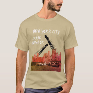 New York City Crane Operator 1930's Skyline Comic T-Shirt